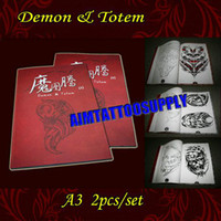 Cheap 2011 New tattoo books Demon & Totem flash A3 shipping 2pcs set