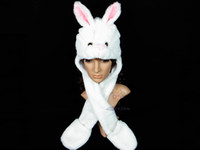 Wholesale Cute Cartoon Animal Warm Cap Rabbit Fluffy Plush Hat Costume Hallowmas Party Christmas Xmas Gift