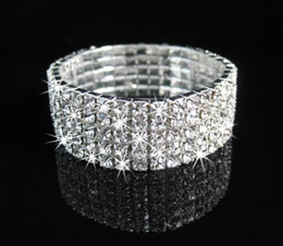 Wholesale 5Rows Clear Sparkle Rhinestone Elastic Bracelet Cuff for wedding Bridal Accessories