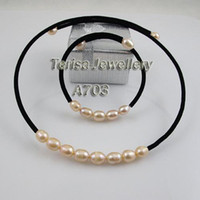 aa jewelery - A703 mm AA Pink Color Natural pearls Jewelery Sets Necklace and Bracelet Fashion Jewelery