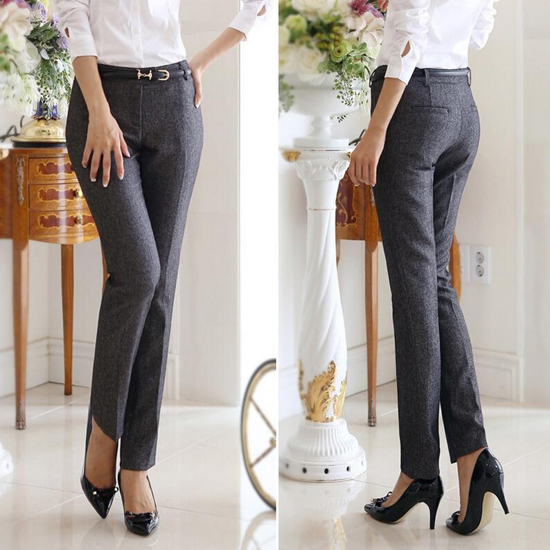 OL Korean Style Brand New Formal Pants Women Work Wear Office Career Slim Long Straight Suit ...