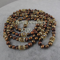 aa birthday gifts - A706 mm AA Brown Color Natural Fresh Water pearls Inch Long Necklace Fashion Lady s Birthday Wedding Party Gift Necklace