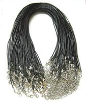 Collier diy Prix-100pcs / lot Noir 2mm Collier cordon cuir véritable pour les bijoux de bricolage 18inch W2 Livraison gratuite