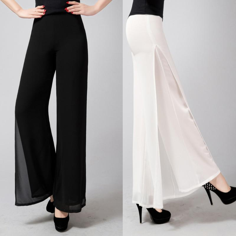 2017 Tall Waist Chiffon Wide Leg Pants For Women High Quality ...
