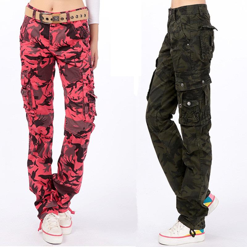 2017 Red Khaki Camouflage Women Baggy Cargo Pants Big Size 36 38 ...