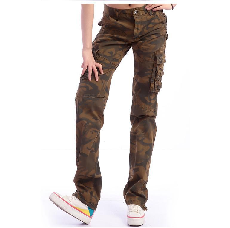 Lastest Baggy Khaki Cargo Pants For Women Button Baggy Pants Khaki