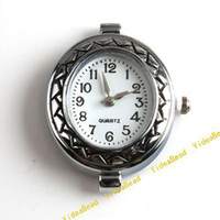 Wholesale 10 New Carved Watch Face li ion battery Round Watch Case Accessories gift Have stock