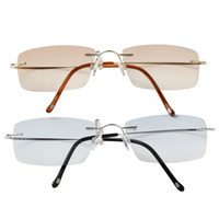 bifocal reading glass - Women and Men Rimless Frame Titanium Eye Glasses Sunglasses Bifocal Reading Glasses Metal Eyeglasses With Case