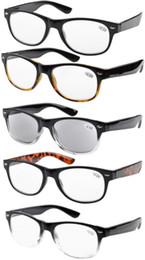 Vidrios del caminante en Línea-R011 5-pack Primavera Bisagras Wayfarer gafas de lectura de 80 Incluye Lectores dom + 0,5 / 0,75 / 1 /1.25/ 1,5 / 1,75 /2/2.25 /2.5 /2.75/4