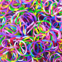 Cheap Loom Bands Colorful Spotty Rubber Tie Dye Loom Rubber Bands Diy Bracelet Spotty Loom Bands( 300pcs bag 12 s-clips+1 kook)