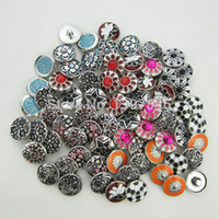Wholesale mix metal crystal mm snap button charms fit snap button bracelet jewelry