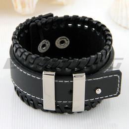 Metal Black Leather Bangle Cuff Bracelet Wristband Men