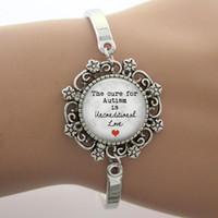 achat en gros de aimer les photos bracelet-Gros-Le remède à l'autisme est inconditionnel Phrase verre Dome Charm Bracelet Dentelle Amour, Remarque conception de photo d'argent Bangle de haute qualité