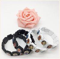 black jesus - cheap sell wood rosary bracelet SAINT BEAD BRACELET Black Stretch Religious Catholic Icon Jesus bracelet Angel Mary