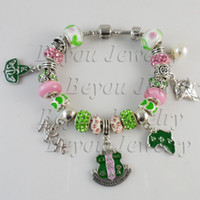 Wholesale AKA Pink Green Charms Bracelet With