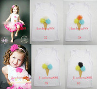 Wholesale Girl s Children tank tops Ice cream Tank Tops tutu tops Colorful Roses T shirt mixed colors