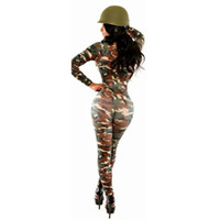 Wholesale bodycon jumpsuit new fashion novelty Sexy one piece outfits Star burst models long sleeve army green camouflage rompers