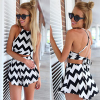 Cheap Black White Striped 2015 Playsuit Two Pieces Women Jumpers and Rompers Backless Summer Playsuit Short Female
