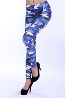 Wholesale Fashion Women Costume Leggins Digital Printing Pants Blue Sharks Leggings For Women
