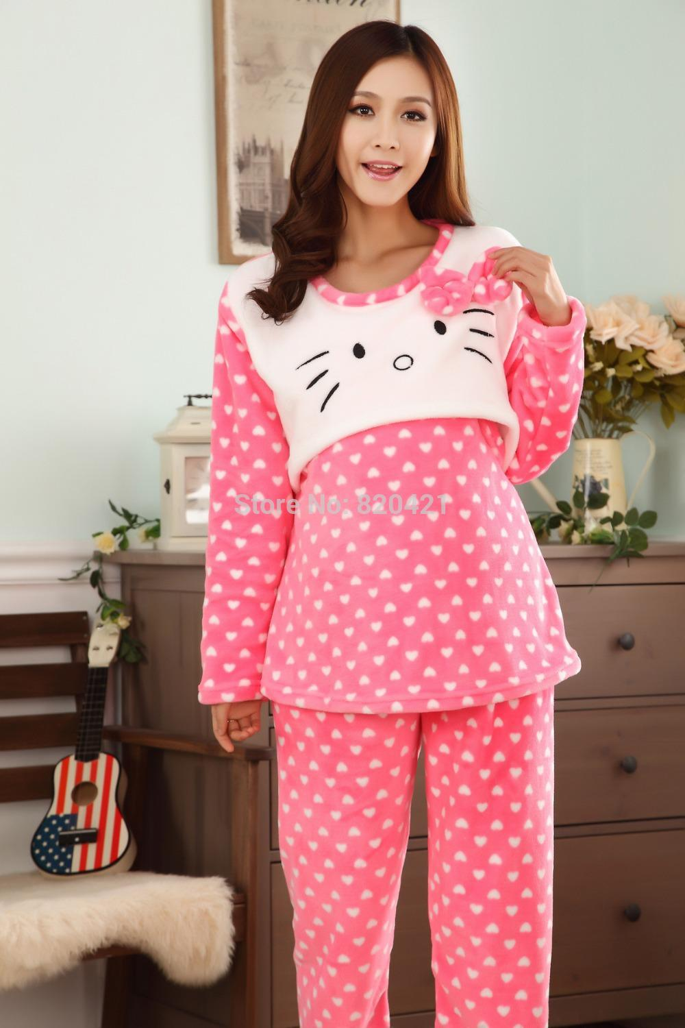 2017 Winter Coral Velvet Thick Flannel Pajamas Maternity Nurse ...