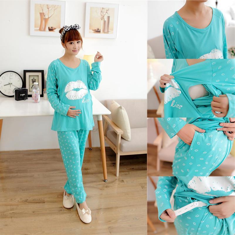 2017 Plus Size 2xl Maternity Kiss Printed Sleepwear Pajamas ...