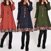 Wholesale Women Big Size Pregnant Clothes Plus Size Maternity Sweater Dress Women Casual Cotton Patchwork Autumn Winter Dresses