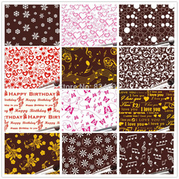Wholesale 12 Pieces In Different Design Mix Editable Cake Topper Maker Love Chocolate Transfer sheet