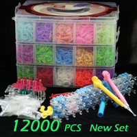 Cheap Wholesale-12000 pcs Crazy and fun Rubber Loom Band Bans Kit DIY Bracelet Silicone Loom Bands 3 layers PVC Box Family Looms Kit Box Refills