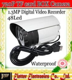 Vidéos hd ir gratuits en plein air en Ligne-1.3MP HD CCTV carte SD caméra vidéo de surveillance DVR extérieur imperméable Caméra Box 48 LED IR EH307 livraison gratuite