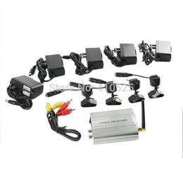 Surveillance KIT 2.4GHz Receiver 4 Channels CCTV Security Camera Wireless Fish-eye