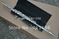 Wholesale silve Flute Professional Woodwind Silver Flute with case free shiping