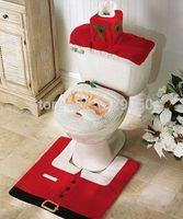 bathroom commodes - 3pcs set Santa Toilet Seat Cover Rug Commode Bathroom Set Christmas Decoration