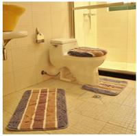 bath toilet seats - Thickening super soft toilet lid set toilet seats three piece set potty pad door mat cover slip resistant floor carpet bath rug