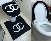 bath and toilets - 3PCS set SOFT and COMFORTABLE toilet seat cover Christmas Bath Set Contour rug and Tank Cover D