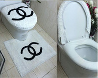 Wholesale 3PCS set SOFT and COMFORTABLE toilet seat cover Christmas Bath Set Contour rug and Tank Cover D