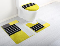 bath rugs sets - DADA Bathroom toilet piece set thick thermal soft toilet seat cover toilet lid set potty pad anti slip pad floor mat bath rug