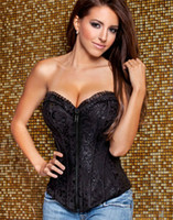 Cheap Free shipping! Embroidered Feminine Zipper Front Corset Black Sexy Full Steel Boned Corsets 9009