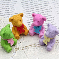 Cheap Free Shipping!!Wholesale,Photo Color New novelty products Lovely Cartoon Eraser Kid Gift Mini Little bear modelling eraser P512