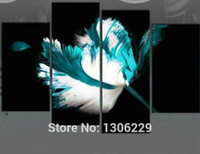 Wholesale Black White And Turquoise Flower Painting Canvas HandPainted Modern Piece Wall Art Set Decor Pictures For Living room Unframed