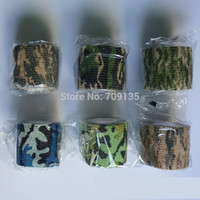 Wholesale 10PCS m length self adhesive elastic camo bandage paintball cs war game airsoft hunting shooting camouflage tape