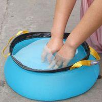 Wholesale 2015 NEW L Outdoor Camping Folding Nylon Water Washbasin Portable Wash Basin Bag Quick Dry Picnic Foot Bath Green Blue