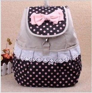 Bagpack Lace Bookbag Canvas Polka Dot Printing Backpack Children ...