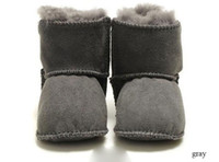 Wholesale 100 fur baby shoes winter first walkers baby girl shoes baby boy boots soft genuine leather snow boots warm