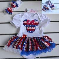 Wholesale 2015 New Fashion Newborn Summer Clothing Set Baby Girls Minnie Mouse Bodysuits Set Dress Headband Toddler Shoes
