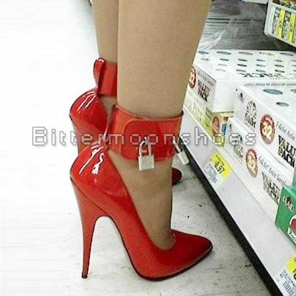 custom~sexy High Heel Pump Lock And Key 5 High Heel Plus Size