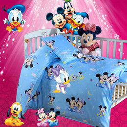Wholesale Coverlet Kids - Wholesale-3PCS 100% Cotton Kid Baby Bedding Set Product Infant Cartoon Quilt Cover Bed Sheet Coverlet Pillowcase for Crib Cradle