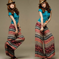 baggy trouses - National style totem printed baggy pants bohemia loose wide legs pants trouses for women