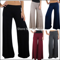 Cheap Plus Size Women Palazzo Pants Sport Pants Flare Pant Dance Club Boho 5 Colors Wide Leg Pants Loose Slim Flare Trousers