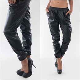2015 Women's Punk Faux Leather Sweatpants Joggers With Pocket Track lounge Jogging Sweat pants Ankle Chic Baggy Leather Pants