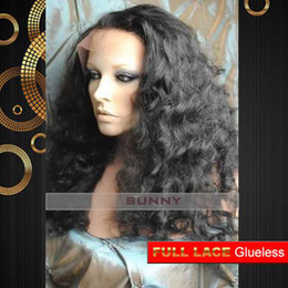 Wholesale New Glueless Full Lace Celebrity Hairstyle quot Body Curl B Natural Black Human Hair Wigs GFL004